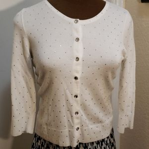 White House Black Mkt Sparkly Snap Front Sweater
